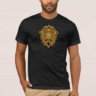 Gelbe und schwarze aztekische Maske T-Shirt