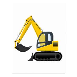 Gelbe und schwarze Bagger-Bau-Maschine Postkarte