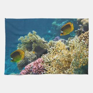 Gelbe und schwarze Schmetterlings-Fische Küchentuch