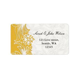 Gelbe und weiße Blumenfrühlings-Hochzeit Adressaufkleber