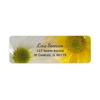 Gelbe und weiße Gänseblümchen-Rücksendeadresse Rückversand-Adressaufkleber