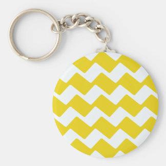 Gelbe und weiße gewellte Sparren Schlüsselanhänger