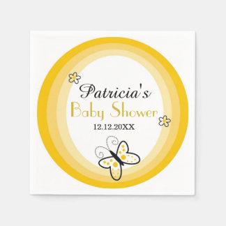 Gelbe und weiße moderne Schmetterlings-Babyparty Serviette