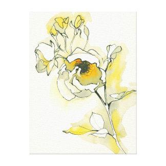 Gelbe und weiße Rosen Leinwanddruck