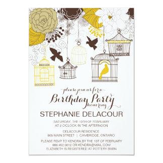Gelbe Vintage Birdcages-Geburtstags-Einladung 12,7 X 17,8 Cm Einladungskarte