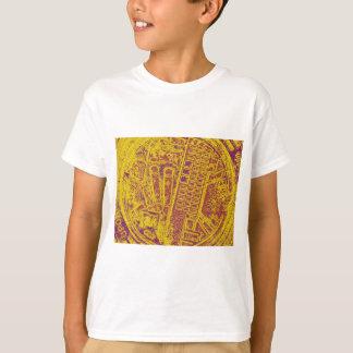 gelbe violette orange Mannlochabdeckung T-Shirt