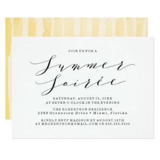 Gelbe Watercolor-Sommersoiree-Party Einladung