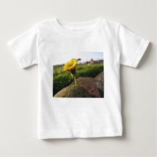 Gelbe Wildblume, die auf Steinen am Baby T-shirt