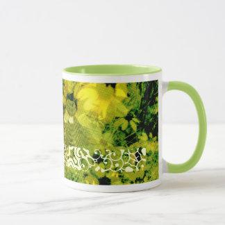 Gelbe wilde Art 2 der Blumen-(Halbtonpunkt-Muster) Tasse