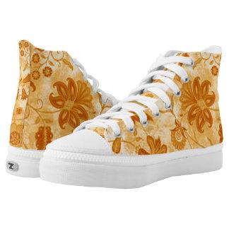Gelbe wilde Blumen-Blumenschuhe Hoch-geschnittene Sneaker