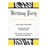 Gelbe wilde Zeitzebra-Geburtstags-Party Einladung