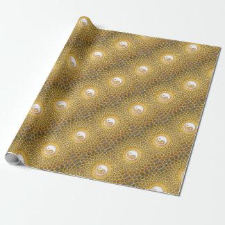 Gelbe Ying Yang Mandala Geschenkpapier