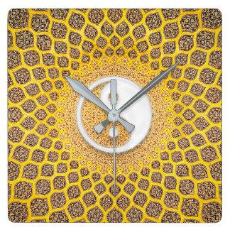 Gelbe Ying Yang Mandala Quadratische Wanduhr