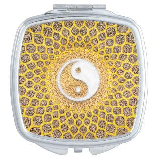 Gelbe Ying Yang Mandala Taschenspiegel