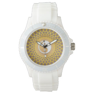 Gelbe Ying Yang Mandala Uhr