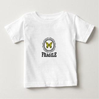 Gelbe zerbrechliche Markierung Baby T-shirt
