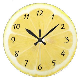 Gelbe Zitronen-Küchen-Uhr Große Wanduhr
