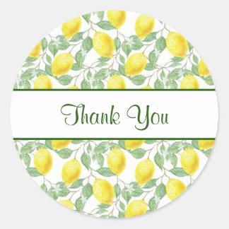 Gelbe Zitronen mit grünem Blätter-Muster danken Runder Aufkleber