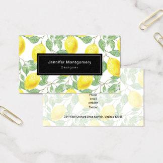 Gelbe Zitronen mit grünem Blätter-Muster Visitenkarte
