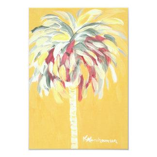 Gelbe zitronengelbe Palme-flache Karten-Einladung Karte