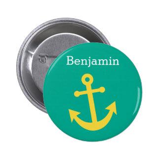 Gelber Anker mit individuellem Namen - Smaragd Runder Button 5,1 Cm