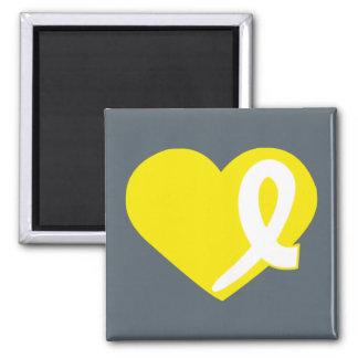 Gelber Blasen-Krebs-Herzband-Quadratmagnet Quadratischer Magnet