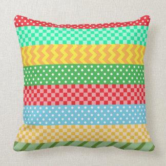 Gelber blaues Grün-roter Polka-PunkteTartan Kissen