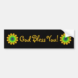 Gelber Blumen-Power-Gott segnen Sie Autoaufkleber