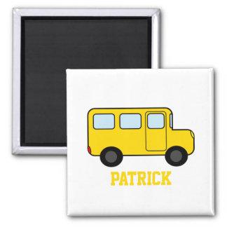 Gelber Bus-individueller Name Quadratischer Magnet
