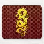 Gelber chinesischer Drache auf Stahlmasche Mousepads