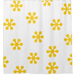 Gelber Duschvorhang - Retro Blumen-Sammlung