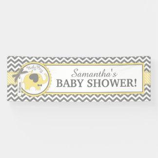 Gelber Elefant-Jungen-Zickzack Baby-Dusche Banner