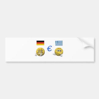 Gelber Emoticon oder smiley und Euro Autoaufkleber