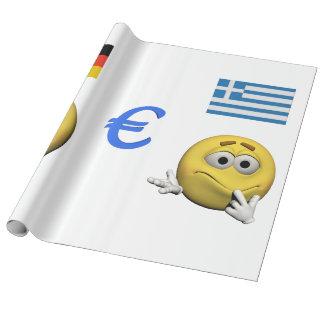 Gelber Emoticon oder smiley und Euro Geschenkpapier