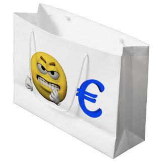 Gelber Emoticon oder smiley und Euro Große Geschenktüte