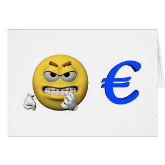 Gelber Emoticon oder smiley und Euro Karte