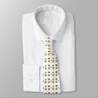 Gelber Emoticon oder smiley und Euro Krawatte