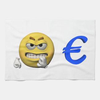 Gelber Emoticon oder smiley und Euro Küchentuch