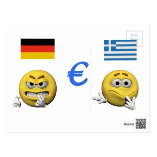 Gelber Emoticon oder smiley und Euro Postkarte
