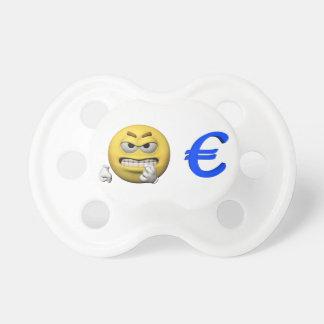 Gelber Emoticon oder smiley und Euro Schnuller