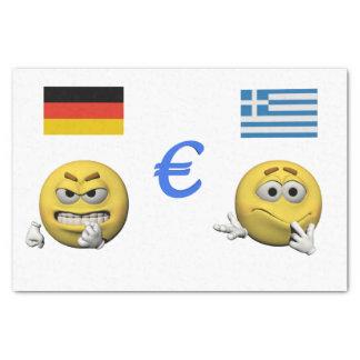 Gelber Emoticon oder smiley und Euro Seidenpapier