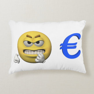 Gelber Emoticon oder smiley und Euro Zierkissen