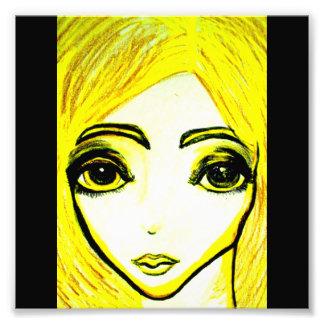 Gelber Fotodruck des Mädchens 6x6