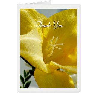 Gelber Freesia danken Ihnen zu kardieren Karte