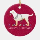 Gelber frohe Weihnacht-Entwurf Labrador retrievers Keramik Ornament