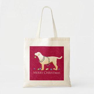 Gelber frohe Weihnacht-Entwurf Labrador retrievers Tragetasche