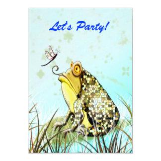 Gelber Frosch-lustige niedliche Karte 12,7 X 17,8 Cm Einladungskarte