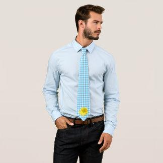 Gelber Gänseblümchen-Türkis-Weiß-Gingham Krawatte