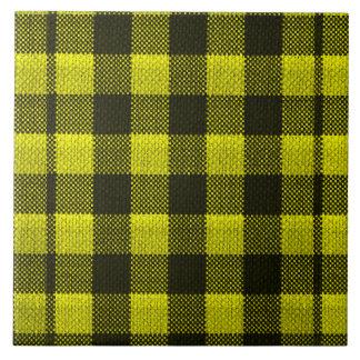 Gelber Gingham-karierter Muster-Leinwand-Blick Keramikfliese
