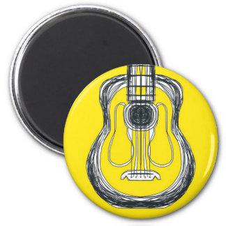 Gelber Gitarren-Monster-Gesichts-Magnet Runder Magnet 5,7 Cm